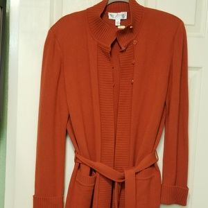 Rust St John Collection Cashmere sweater set.